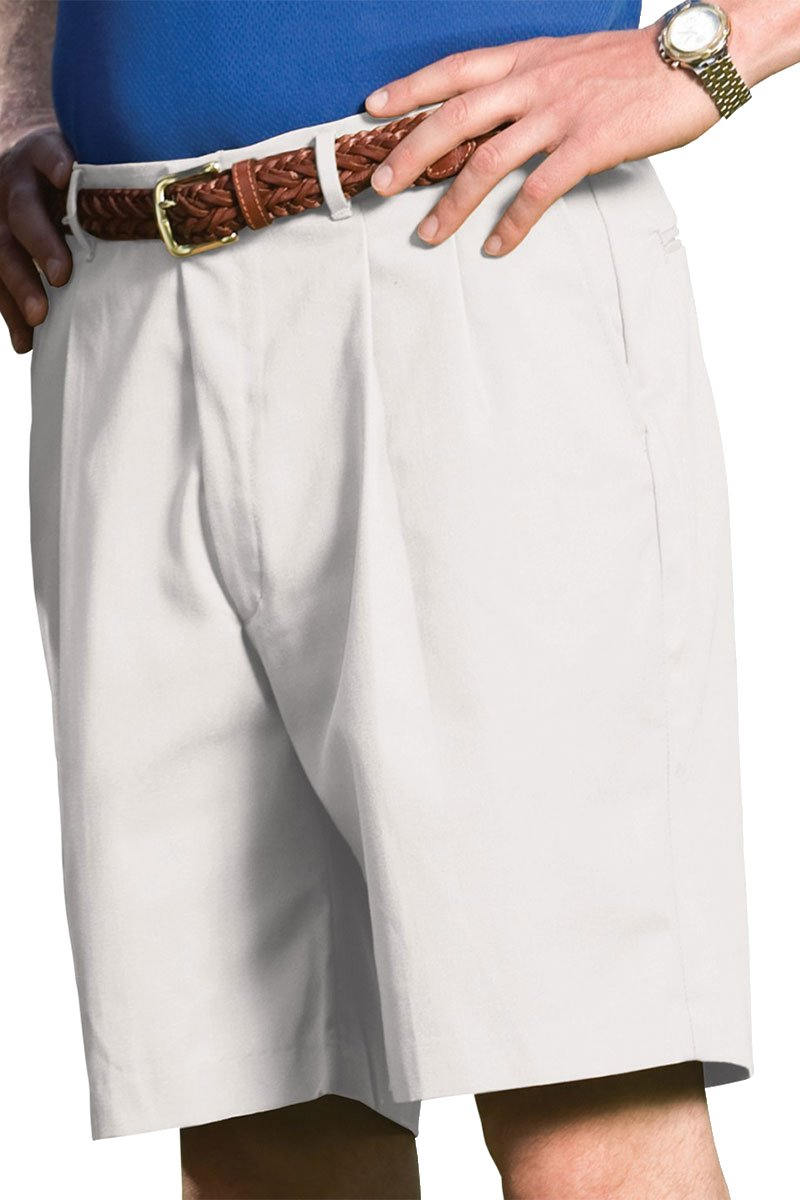 Ed Garments Men's Pleated Business Casual Chino Short, WHITE, 36
