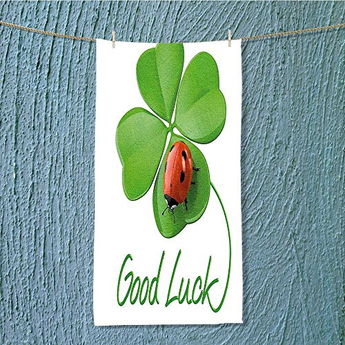 SCOCICI1588 enduracool towel Lucky Symbols Four Leaf Cr with Ladybug Irish Charm Green Red Black Soft & Absorbent W7.9 x H23.6 -