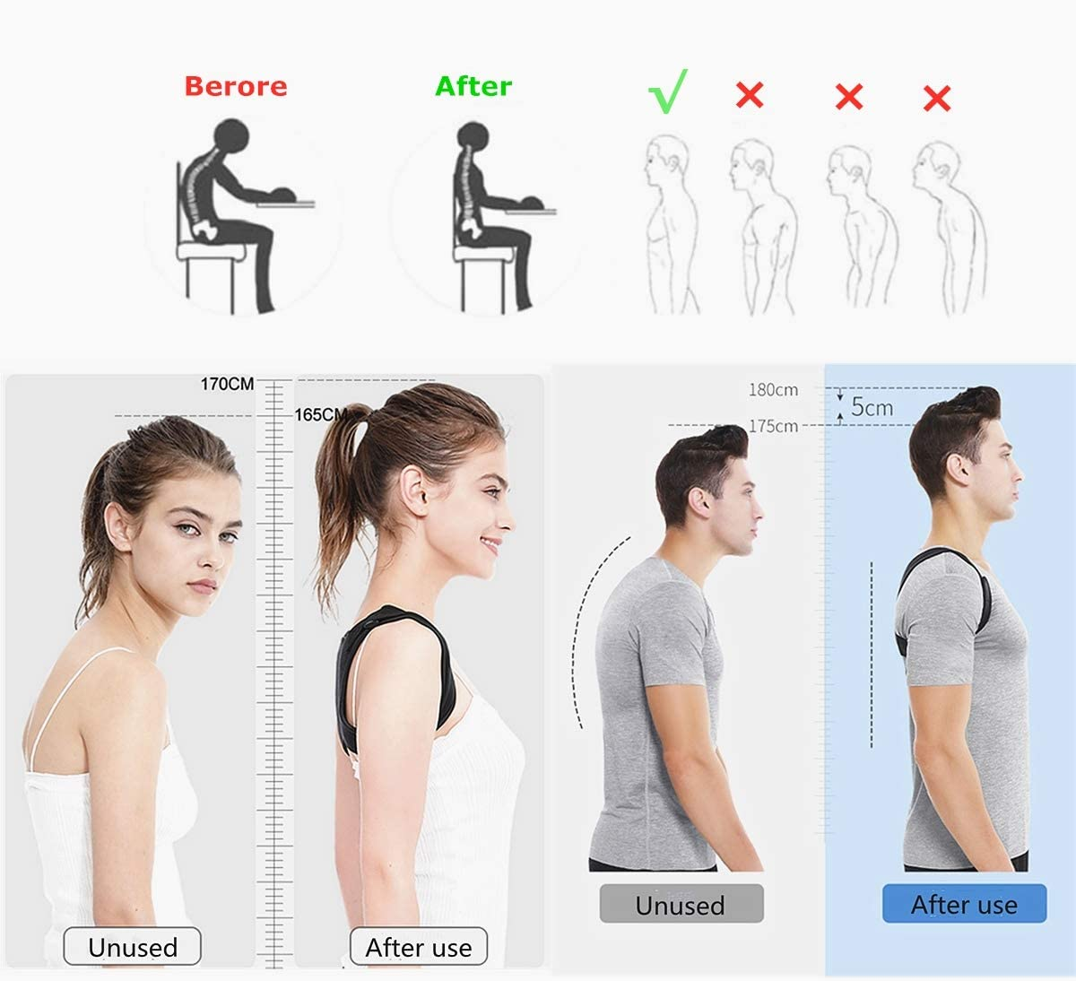Unisex Posture Corrector,AUCAN Discreet Under Clothes,Designed for sedentary,Adjustable Back Straightener,Comfortable Posture Trainer for Spinal Alignment and Posture Support