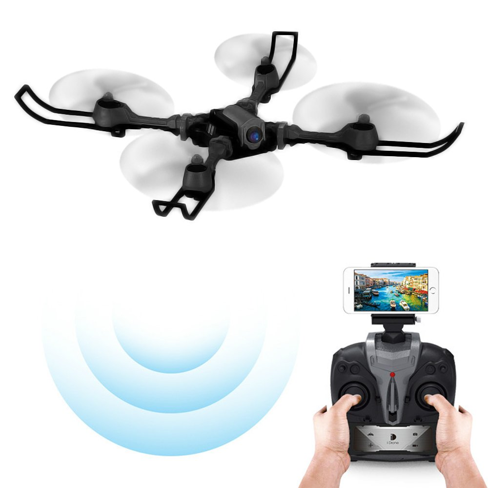ElementDigital iDrone i5HW Quadcopter WIFI FPV Selfie Drone 0.3MP Camera 2.4G 4CH 6-axis Gyro Aircraft Altitude Hold RC Foldable Helicopter Real-Time Transmission (Black)