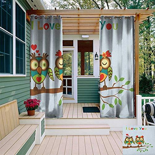 Adoration Quilts - leinuoyi Romantic, Outdoor Curtain Pole, Colorful Abstract Owls on a Branch with a Quote Expressing Affection and Adoration, Outdoor Privacy Porch Curtains W96 x L108 Inch Multicolor
