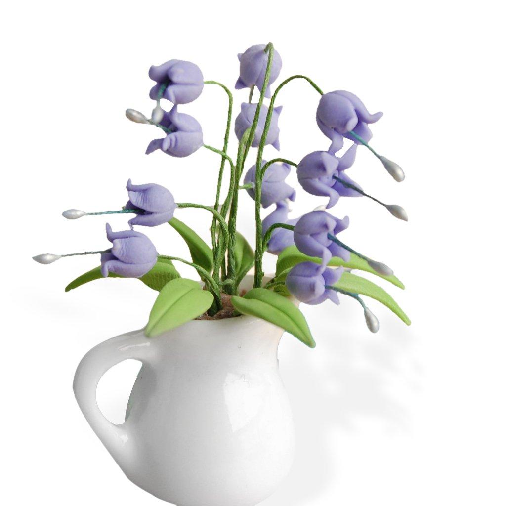 1/12 Dollhouse Miniature Accessory Clay Plant Flores Convallariae In Ceramic Vase Generic