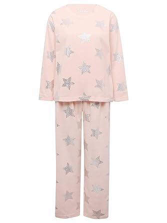 51bbaec4dae3 M Co Ladies Long Sleeve Crew Neck Top Full Length Bottoms Foil Star Print  Fleece Pyjama Set Pink 10 12  Amazon.co.uk  Clothing