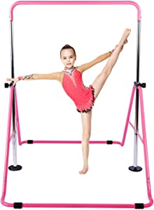 KidoGym Gymnastic Bars for Kids with Adjustable Height, Folding Gymnastic Training Kip Bar for Home, Junior Expandable Horizontal Monkey Bar …