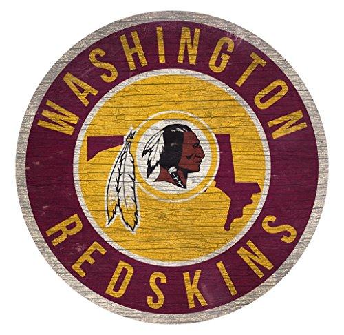 (Fan Creations Washington Redskins Wood Sign 12 Inch Round State Design)