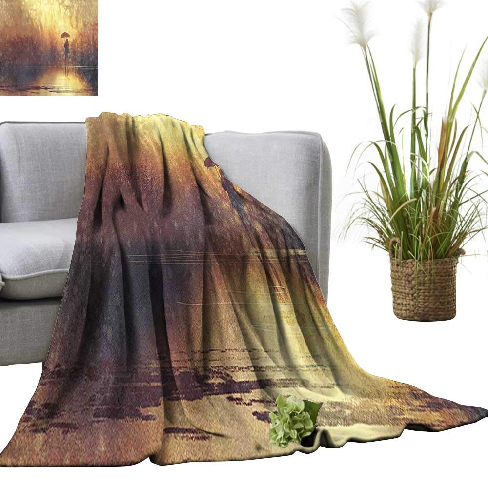 color10 60 x63  YOYI Baby Blanket of a Woman Girl Portrait and Dandelion Flower by greenical color Stripes Multicolor Indoor Outdoor, Comfortable for All Seasons 60 x63