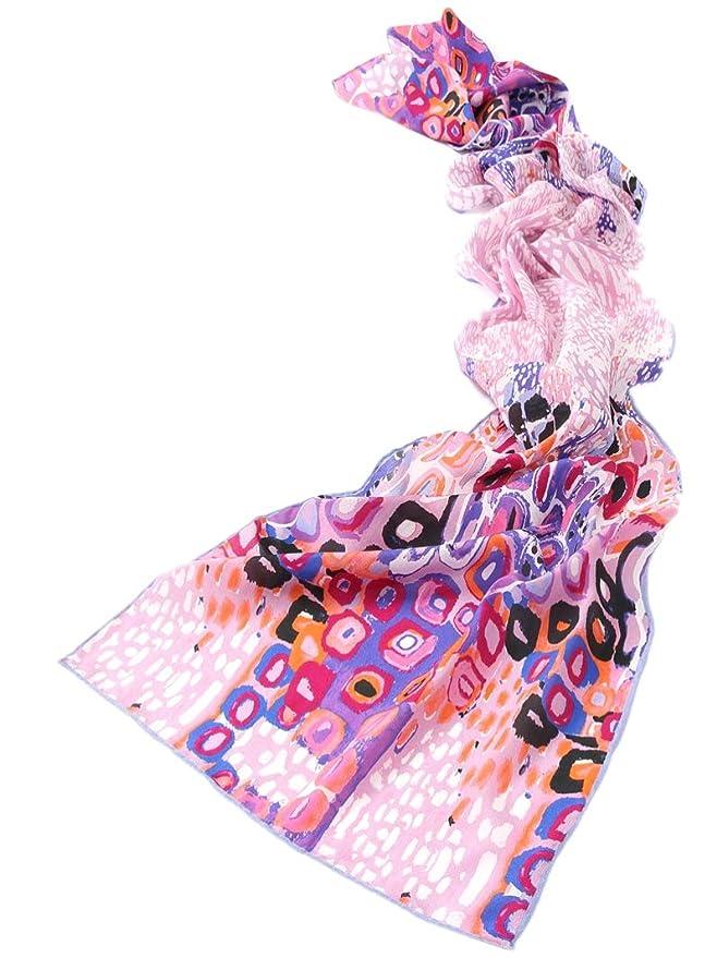 2eb70b53fad Prettystern - 160cm cent eau - écharpe en soie imprimé très artistique 3  couleurs  Amazon.fr  Vêtements et accessoires