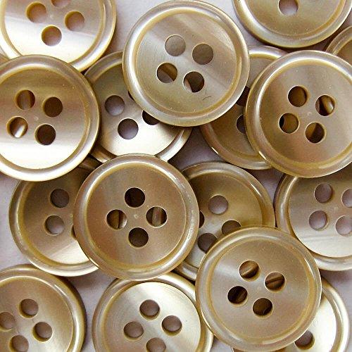 Knopfparadies - 25er Set kleine Vierloch Blusen o. Hemden Knöpfe in Perlmutt Optik / perlmuttartig beige-braun / Kunststoff / Ø ca. 13mm