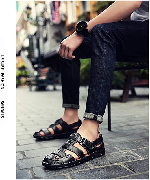 ZG-TX Mens Leather Sandals Hand Stitching Breathable Outdoor Closed Toe Beach Summer Casual Travel Soft Sports Adjustable Strap Walking Shoes,Blue,40