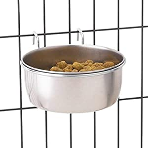 "ProSelect Stainless Steel Hanging Pet Food Bowl to Attach to Cage – 5-2/7"" x 4-2/7"" Size, 3"" in Depth, 8-oz. Capacity"