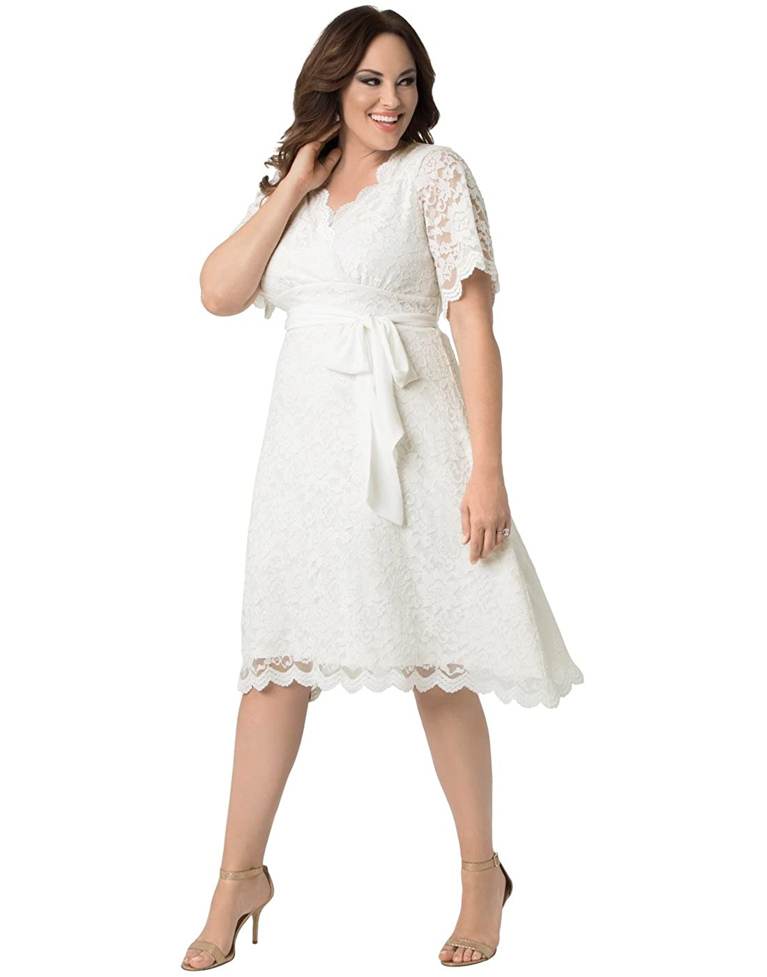 Retro inspired with a flattering empire waist and A-line skirt. Perfect for  the simple and sassy bride. Features scalloped lace edges 8e8b818ca