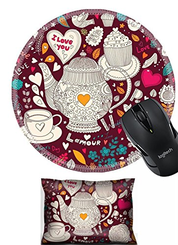 Liili Mouse Wrist Rest and Round Mousepad Set, 2pc Wrist Support IMAGE ID: 17693865 Vector art hand drawn holiday card with cupcake and teapot