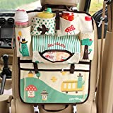 Cartoon Car Seat Organizer, Backseat Organizer for Kids, Multi-Pocket Travel Storage Bag (Heat-Preservation) (Green)