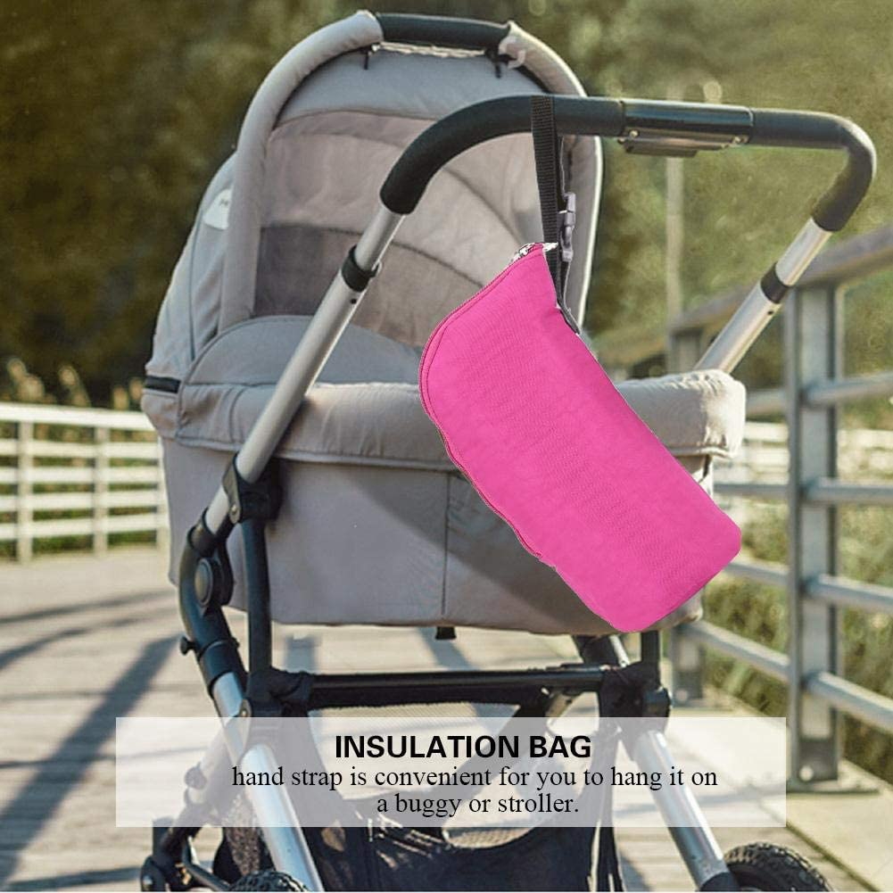 Rose Red Baby Bottle Warmer Insulated Bottle Bags Water Bottle Holder Baby Feeding Bottle Carrier Thermal Bags Hang Stroller