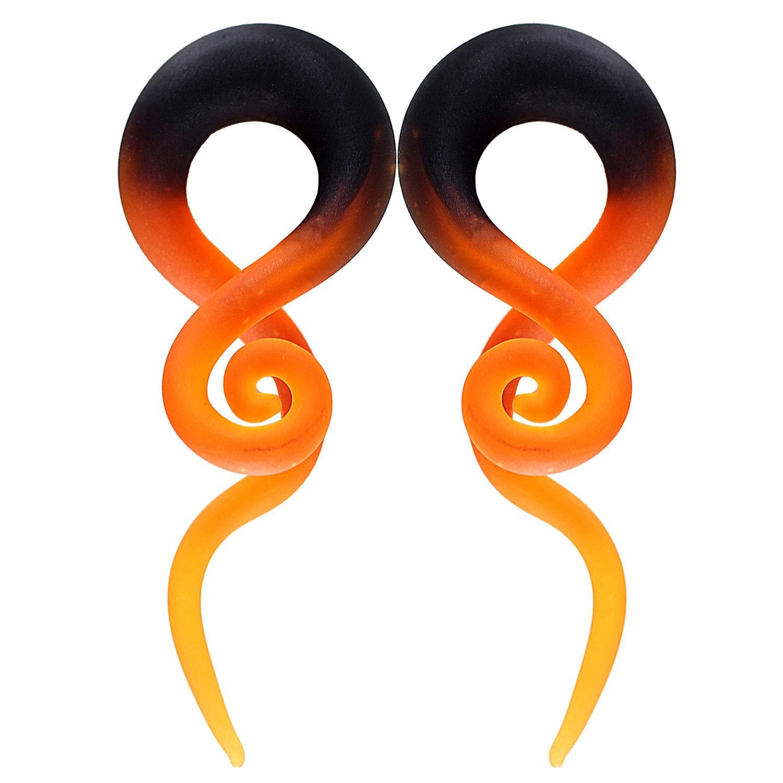 BodyJ4You 2PC Glass Ear Tapers Plugs 2G Black Orange Fire Handmade Gauges Piercing Jewelry Set by BodyJ4You
