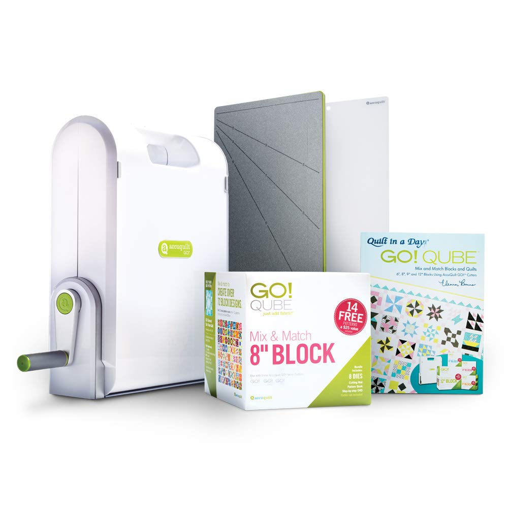 AccuQuilt Ready. Set. GO! Ultimate Fabric Cutting System with GO! Fabric Cutter, GO! Qube 8'' Mix & Match Block, GO! Strip Cutter-2 ½'' (2'' Finished), GO! Cutting Mats: 6'' x 6'' and 10'' and more. by AccuQuilt