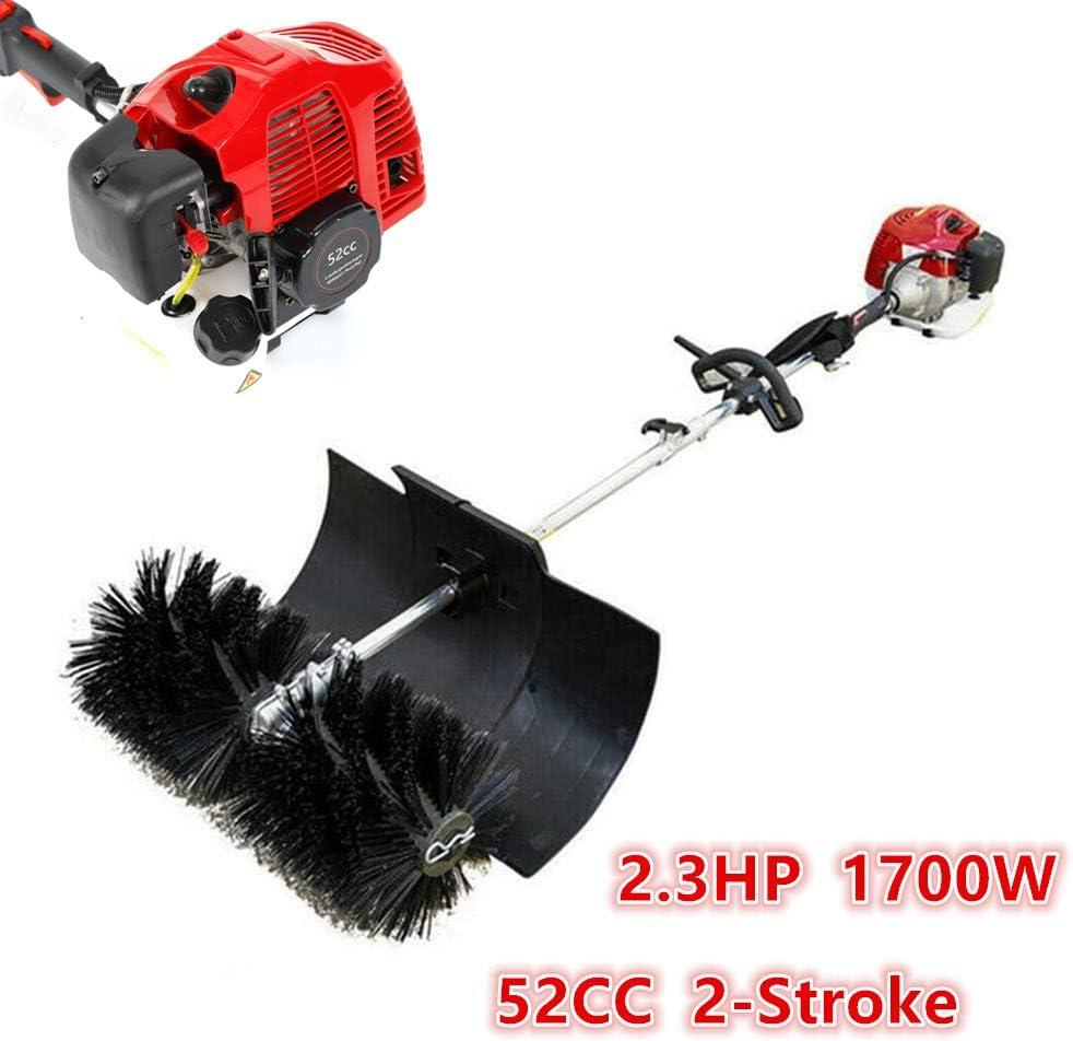 HYYKJ Sweeping Broom 52CC 2.3HP 1700W Handheld Gas Powered Sweeper Cleaning Broom 2 Stroke Air Cooled Motor EPA Engine Nylon Brush Cleaner Walk Behind Cleaning Machine