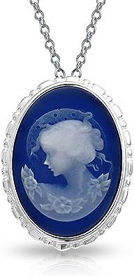 Vintage Style Victorien Portrait Femme Ovale Blanc Bleu Broche Camée Sculpté Ou Collier Argent Sterling 925