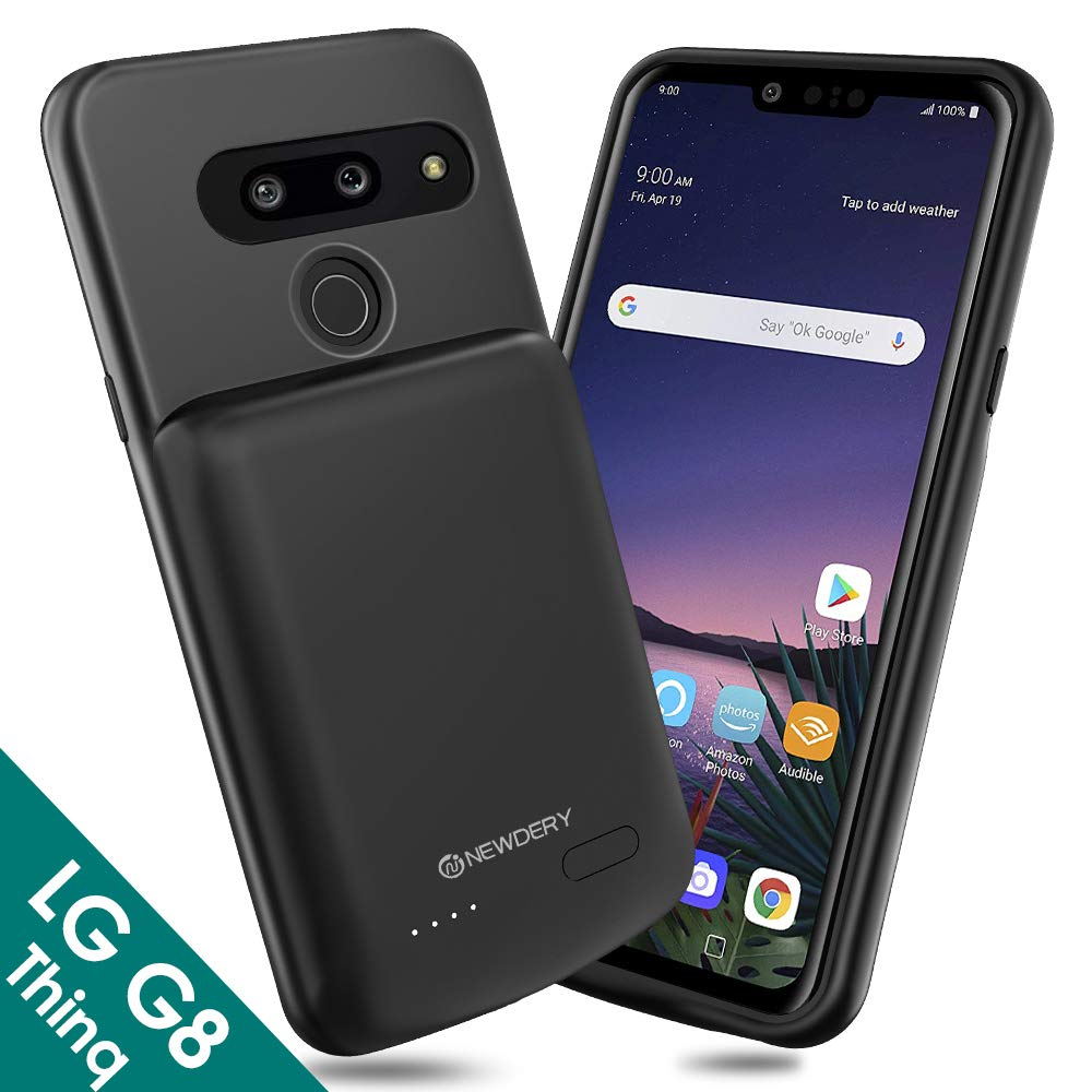 NEWDERY LG G8 ThinQ Battery Case, 4700mAh Slim Rechargeable Extended Power Charging Case Compatible LG G8 ThinQ(2019)-Black by NEWDERY