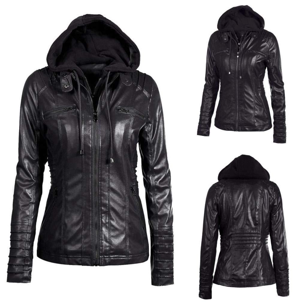 Rambling Womens Hooded Leather Jacket, Slim Overcoat Coat Lapel Removable Zipper Outwear Tops by Rambling (Image #6)