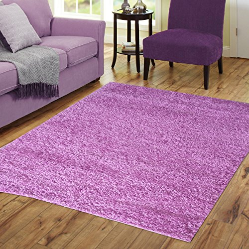 Dining Plush (Homedora Solid Shaggy Area Rug Vivid Soft & High Pile, Thick Plush Bedroom Living Dining Kids Shag Floor Rug Lavander Lilac 6' x 9')