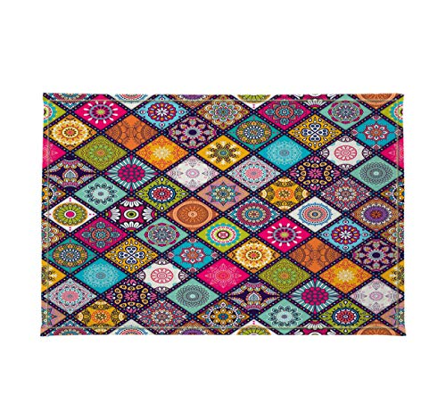 Gothic Church Cathedral Mandala Colorful Stained Glass Decor Stylish Bath Rugs 3D Digital 16x24 Inch Customized Gorgeous Colored Round Pattern Outdoor Indoor Front Door Mat Non-Slip Bath Mat]()