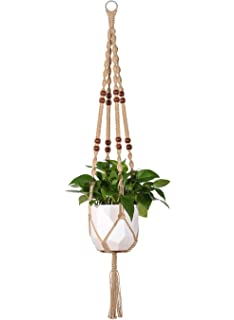 Mkono Macrame Plant Hanger Indoor Outdoor Hanging Planter Basket Jute Rope  With Beads 4 Legs 48