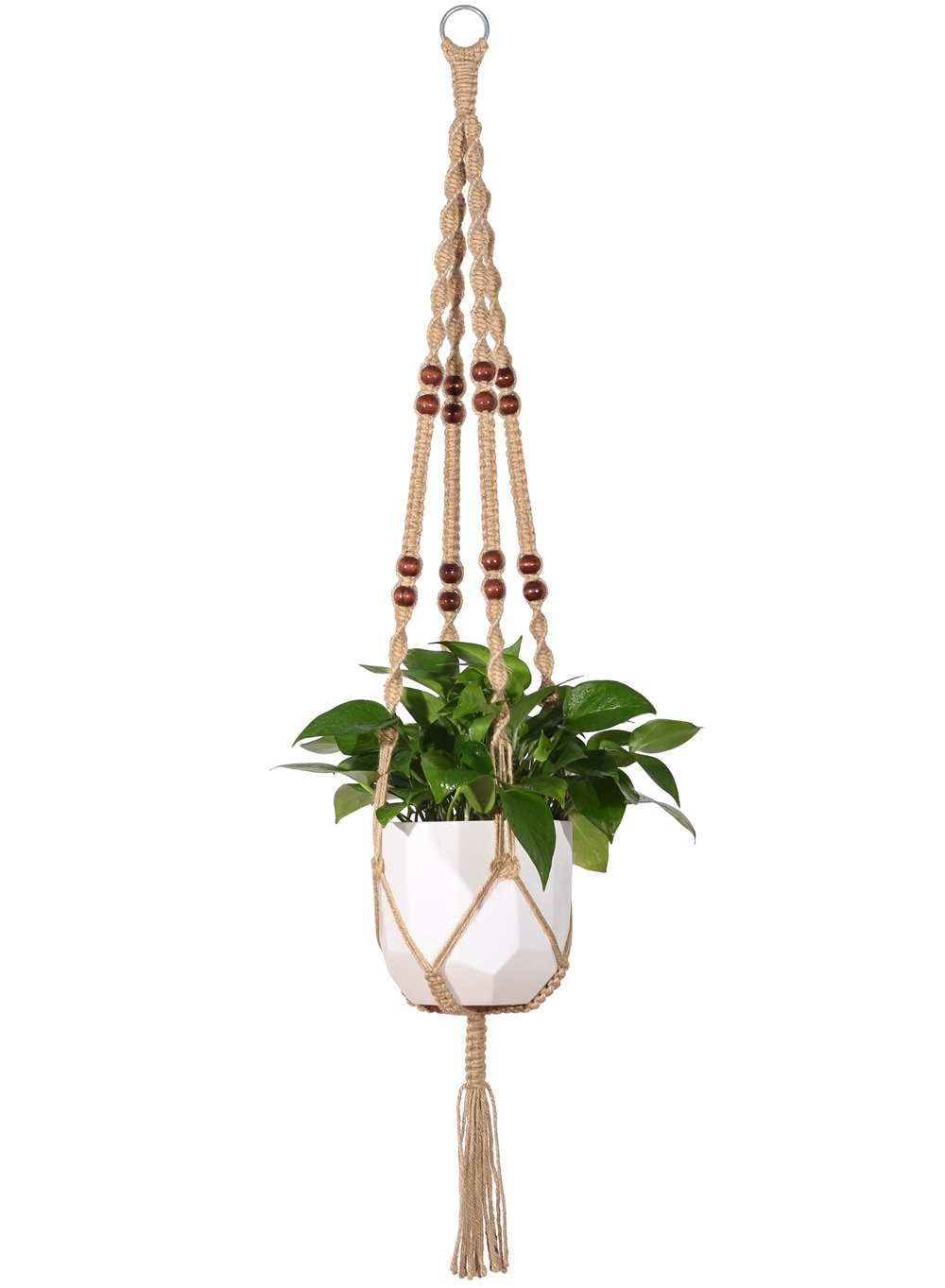 Mkono Macrame Plant Hanger Indoor Outdoor Hanging Planter Basket Jute Rope  With Beads 4 Legs 48 Inch