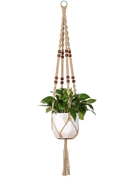 Outdoor Hanging Planter Amazon mkono macrame plant hanger indoor outdoor hanging mkono macrame plant hanger indoor outdoor hanging planter basket jute rope with beads 4 legs 48 workwithnaturefo
