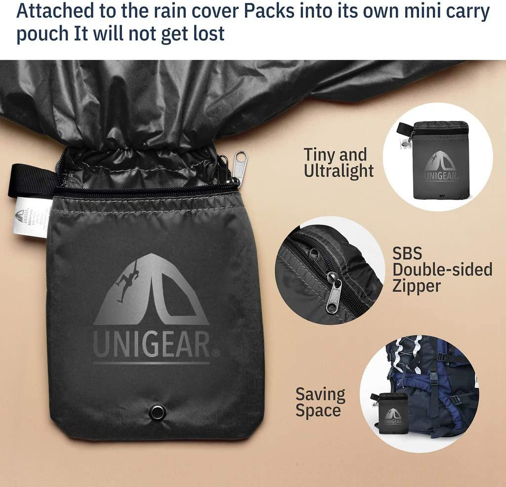 Ultraportable and Durable with 2 Anti-Slip Buckle Strap Integrated Carry Pouch Design Unigear Backpack Rain Cover Waterproof Rating 5000mm