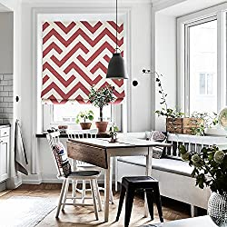 """KARUILU home Quick Fix Washable Roman Window Shades Flat Fold, Custom any width from 14"""" to 70"""", Geometric Color Pattern (27W x 63H, Red Line)"""