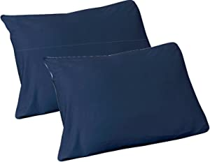 Arkwin Home Products 100% Jersey Knit Cotton, 2 Standard Pillow Case Navy