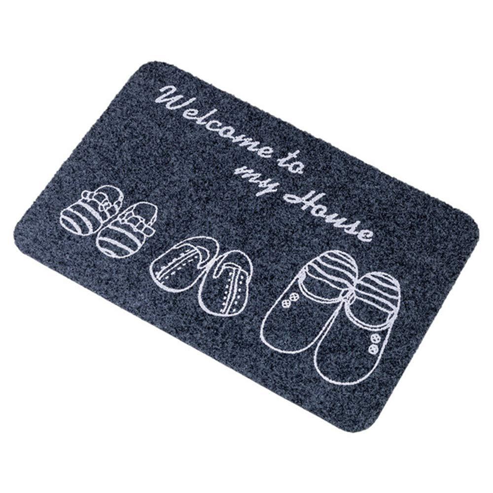 Bienvenue À Ma Maison Tapis De Porte D'entrée pour Intérieur Extérieur Garage Patio De Haute Circulation des Zones De Chaussures Tapis (Gris-Bleu), 40 * 60 ZJQN