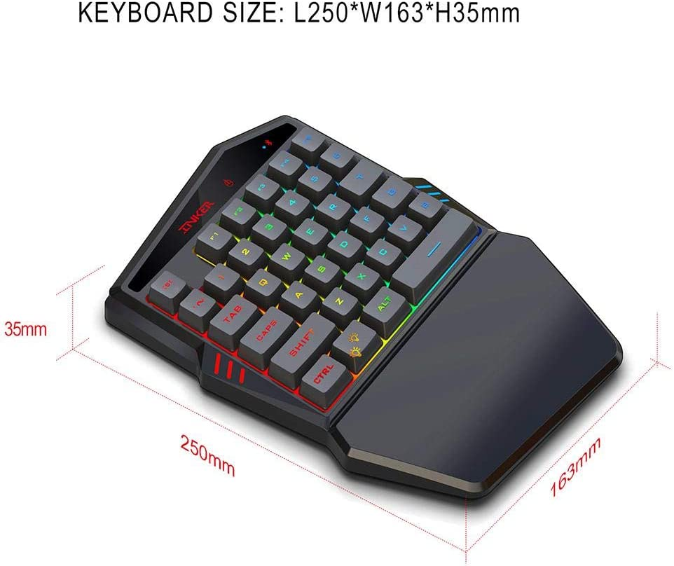 themesmith K88 Bluetooth 4.2 Wireless Keyboard Comes with Throne Mouse Set to Support Various Mobile Games
