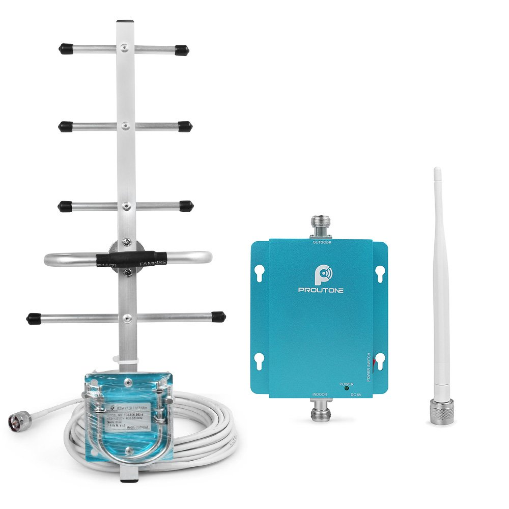 PROUTONE Cell Booster Verizon AT&T Phone Signal Booster GSM Repeater WCDMA Amplifier Antenna 62dB 850MHz