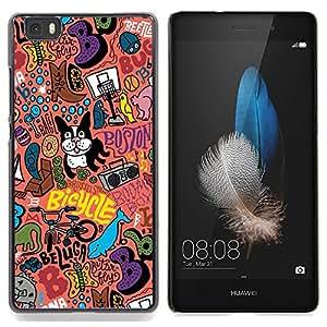 - Art Boston Terrier Pink Text Modern Art/ Duro Snap en el tel????fono celular de la cubierta - Cao - For HUAWEI P8 Lite
