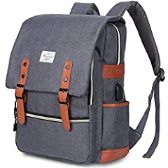 "Modoker Vintage Laptop Backpack for Women Men, School College Backpack with USB Charging Port       Dimension: 11.8""L x 16.5""H x 5.1""W; Capacity: 25L;        Package Included: USB Backpack x 1 ✔                                       Se..."