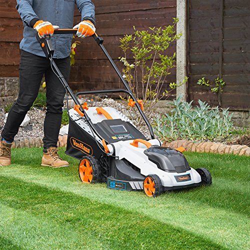 VonHaus 40V Max.16-Inch Cordless Lawn Mower Kit with 6 Level Adjustable Cutting Heights, 4.0Ah Lithium-Ion Battery and Charger Kit Included