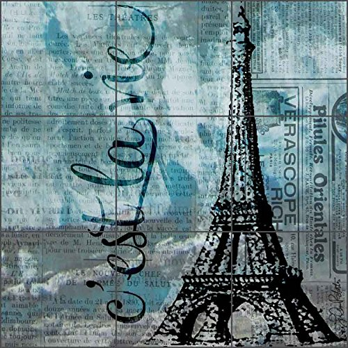Artwork On Tile Ceramic Mural Backsplash Feeling Blue and French by LuAnn Roberto - Kitchen Shower Wall (12.75'' x 12.75'' - 4.25'' tiles)