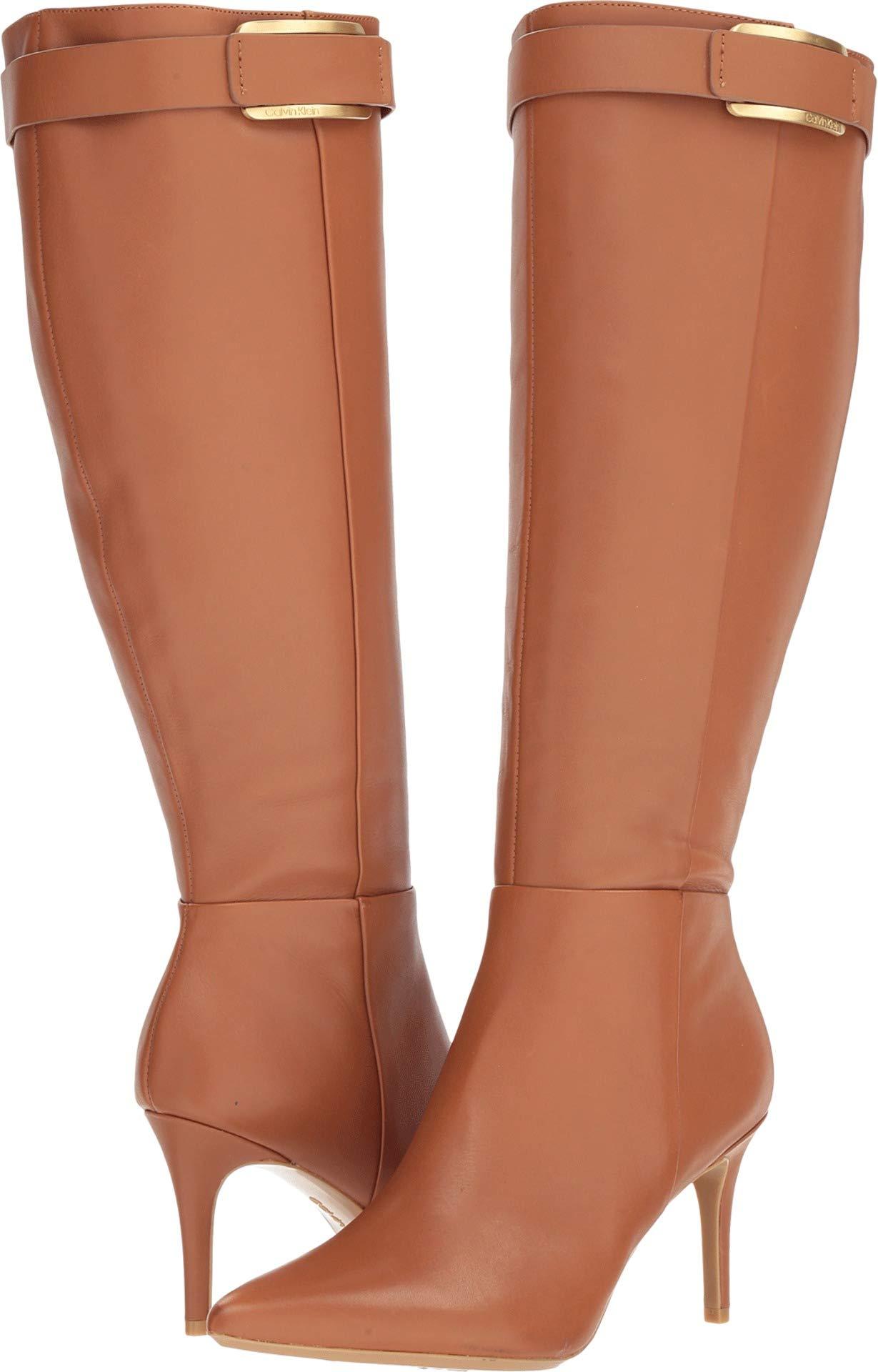 Calvin Klein Women's GLYDIA Knee High Boot, Cognac Leather Wide Calf, 5 M US by Calvin Klein
