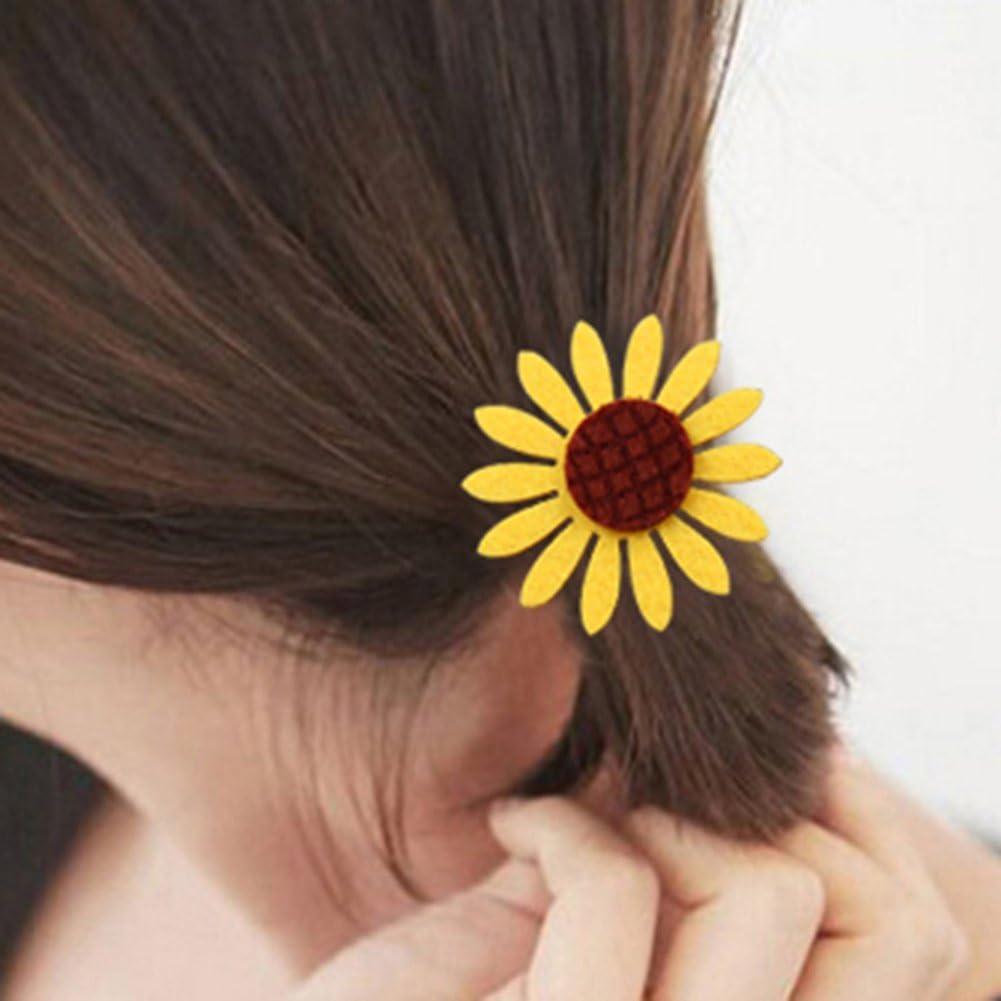 5Pcs Cute Sunflower Elastic Hair Ties Bands Rope Rings Ponytail Holders Girl New