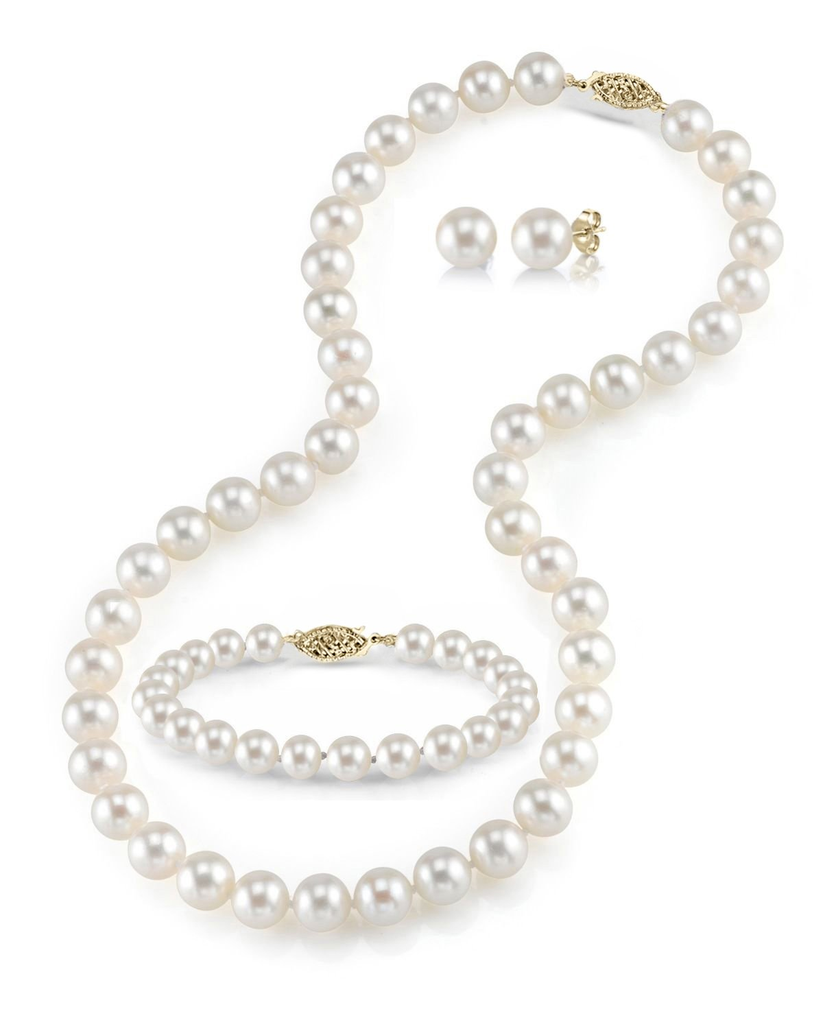 THE PEARL SOURCE 14K Gold 7-8mm Round White Freshwater Cultured Pearl Necklace, Bracelet & Earrings Set in 17'' Princess Length for Women