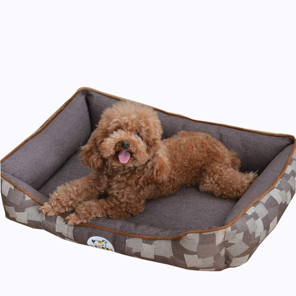 Brown Large Brown Large Lyuyu The Dog's Bed, Waterproof Dog Jacquard Cowboy Kennel, Supportive & Warm Dog Bed, Washable Covers(Small, Medium, Large),Brown,L