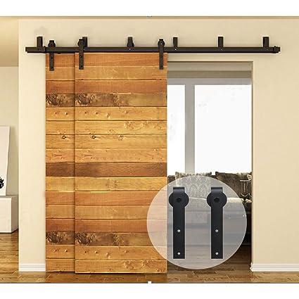CCJH Flat Style Bypass Sliding Barn Wood Closet Door Rustic Black Hardware  Track Set (14FT