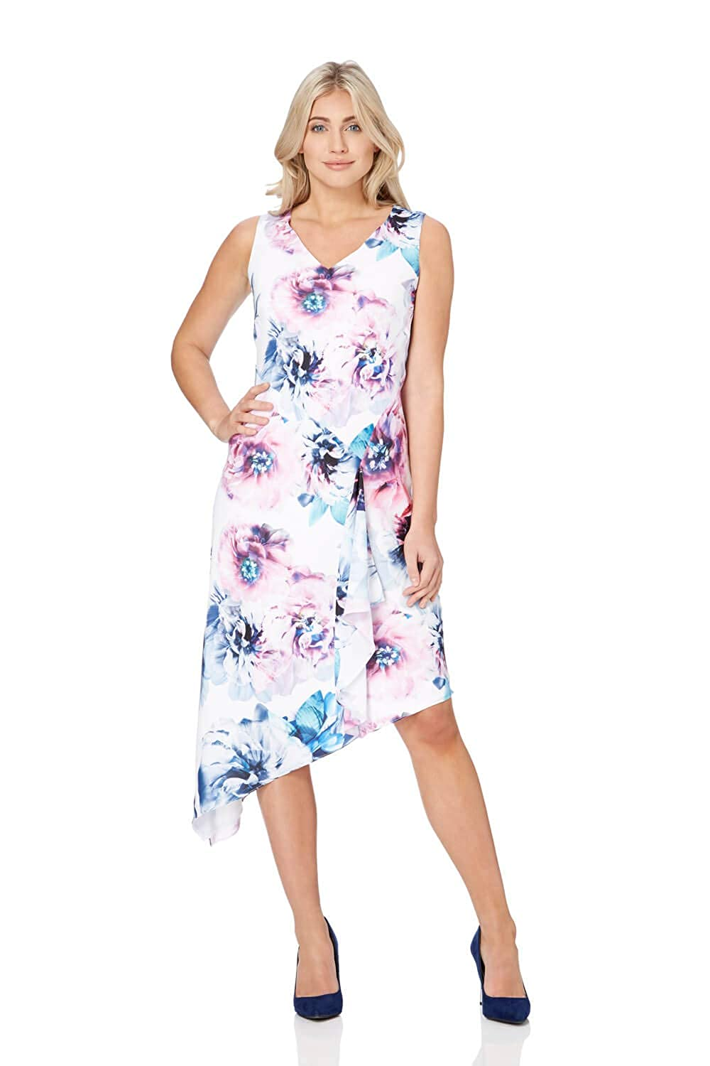 87cd636ac9 Roman Originals Women Floral Print Asymmetric Dress - Ladies V-Neckline  Sleeveless Midi Length Going Out Occasion Flowers Pretty  Amazon.co.uk   Clothing