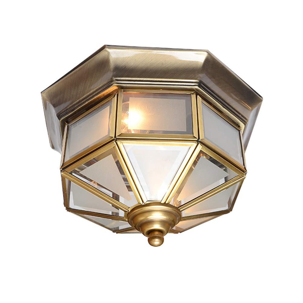 "TopDeng Octagon Brass Ceiling lamp, 13"", E26, European Style Classic Frosted Glass Ceiling Light Flush Mount for Corridor Balcony Bedroom Entrance-1 Light 32x20cm"