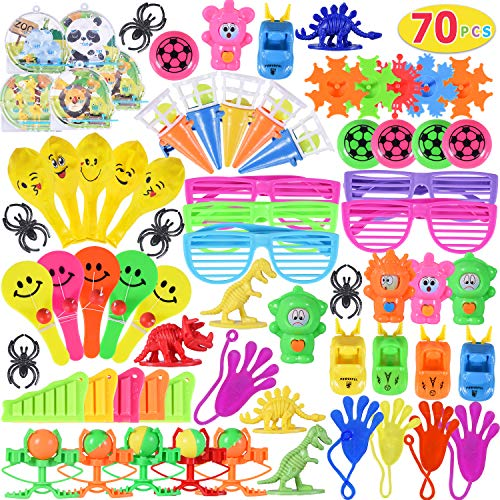 Max Fun Random Color Assortment Toys for Kids Party Favors Prizes Box Birthday Party School Classroom Rewards Carnival Prizes Pinata Fillers(Pack of 70)