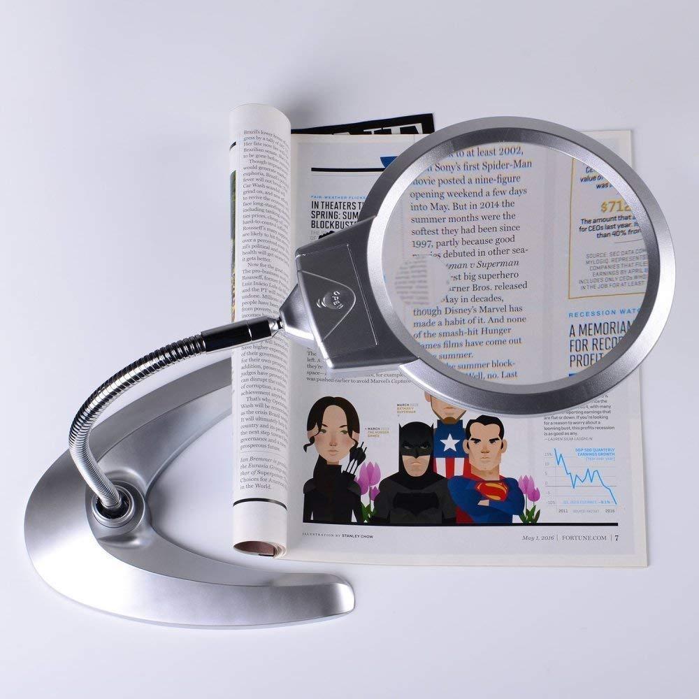 AI LI WEI Magnifier Beleuchtetes Vergrößerungsglas 2X 5X faltender faltender faltender freihändiger Arbeitsplatzlupe mit 2 LED-Lichtern für das Lesen von Büchern, 85mm Lupe 126f8e