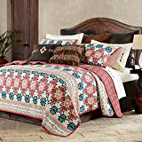 MPN 3 Piece Red Tan Southwest Quilt King Set, Tribal Bedding Teal Blue Burnt Orange Rustic Motifs Native American Themed Western Colors Aztec Bohemian, Medallion, Reversible Cotton Polyester