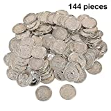 Plastic Gold Coins - 144 Pack - 1.25 Inches Fun Play Money Coins - For Kids Great Party Favors, Bag Stuffers, Fun, Toy, Gift, Prize, Piñata Fillers - By Kidsco